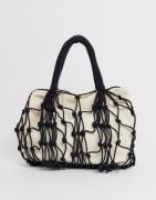 Missguided rope detail canvas bag-Black
